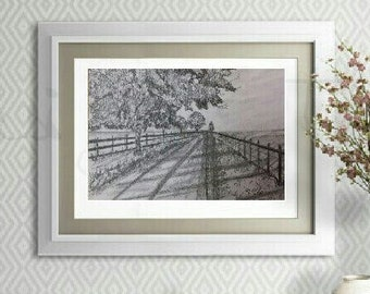Landscape Pencil sketch, Tree drawing, Print of Original Graphite drawing, Pencil Art, Nature drawing