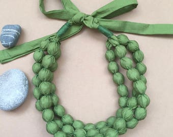 Three-layer handmade necklace fabric bead necklace summer necklace green necklace