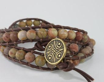 Boho Style Beaded Leather Wrap Bracelet