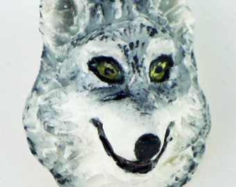 Grey Wolf Handmade Porcelain Button