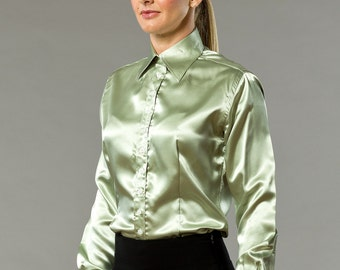 Office Olive Satin French Cuff Shirt