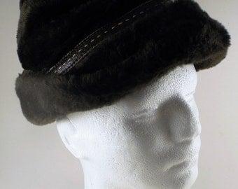Vintage Men's Brown Faux Fur Hat