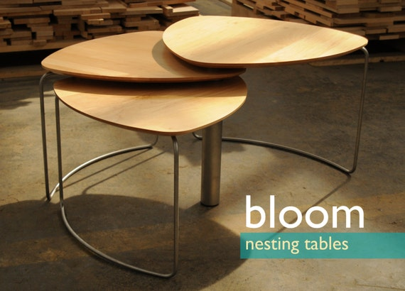 Bloom modern nesting tables coffee table for Modern nesting coffee tables