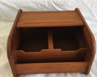 Vintage Teak Tambour lid storage, docking station, mid century, ipad storage, iphone storage