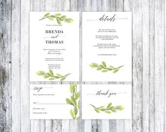 Rustic Wedding Invitation, Wedding invitation template, Greenery Wedding Invitation Template, Wedding Invitation Template, Printable Wedding