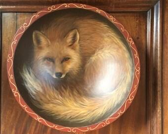 Fox Art,Fox Painting,Fox Craft,Red Fox,Fox Mixed Media,Fox 3D Art,Fox Original Art,Fox Home Accessory,Fox Acrylic,Fox Hand-Painted