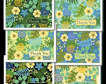 Set of Six Tropical Floral Thank You cards