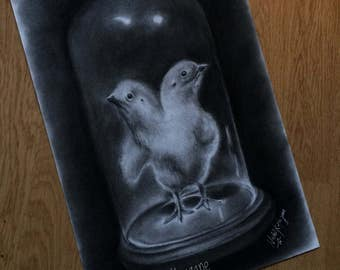 ORIGINAL charcoal drawing of conjoined twins chickens