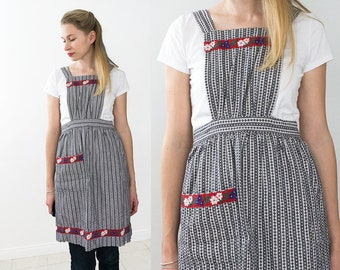 Vintage Black and White Apron with a Cute Red Floral Detailings.