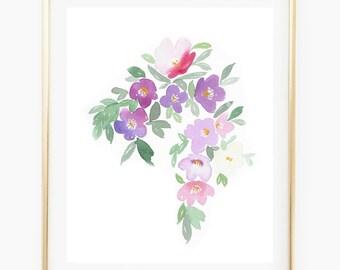 Flower cascade in mauve - Watercolor Art Print