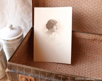 Beautiful signed retouched vintage photo portrait of a lovely lady