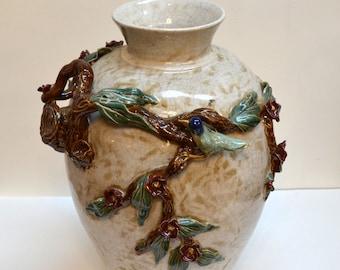 Beautiful Ceramic Vase With Bird.