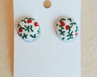 White with Red and green floral, stud earrings