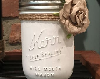 Vintage Style White Mason Jar with Twine and Tan Paper Flower - FREE SHIPPING!