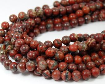 "Two 15"" strands Brecciated Jasper Beads 6mm"