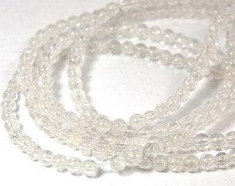 "Two 15.5"" strands Natural Quartz Beads 4mm"