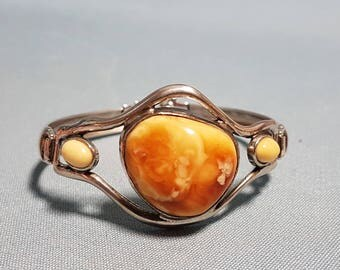 Genuine Amber Bracelet in Sterling Silver