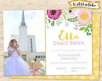 Editable Baptism Invitation Girl Floral Yellow Pink Delicate Digital Print LDS Baptism Invitation Editable Printable Lds baptism girl print