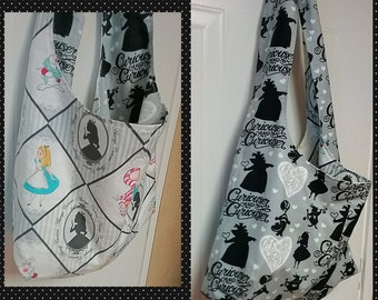 Alice in Wonderland hobo purse tote bag fabric choices