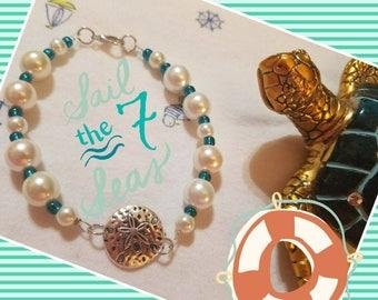 Pearl Sand Dollar Seashell Bracelet