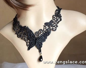 Butterfly Necklace/Black Lace Necklace/Beaded Necklace/Victorian Lace Necklace/Romantic Necklace/Masquerade Necklace, LN-16-x