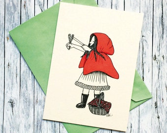Girl power little Red Riding Hood with folding high velocity illustration print
