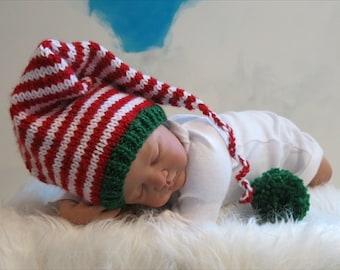 READY,Baby Christmas Hat, Knit Christmas Baby Hat, Christmas Baby Santa Hat, XMAS Baby Hat, Knit Baby Elf Hat, Newborn Christmas, Photo Prop