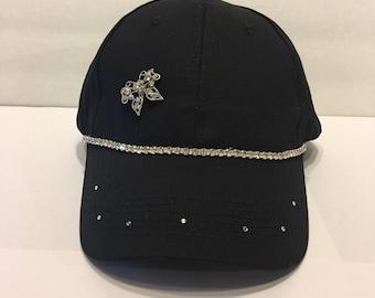 Bling Sparkle Embellished Black Hat