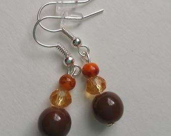 Orange and Brown Bead Earrings