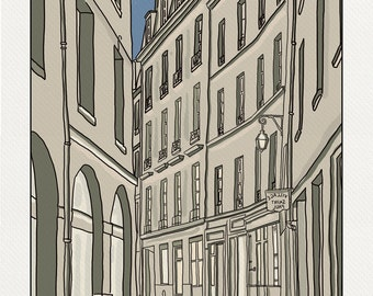 Street in the Marais - Illustration Paris - printed on fine art paper