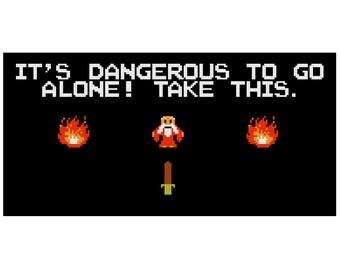 It's Dangerous To Go Alone! | Zelda modern cross stitch kit | geek cross stitch