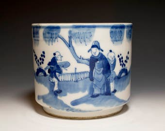 Beautiful Chinese Antique 19th Century Qing Dynasty Blue and White Porcelain Brush Pot