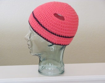 Beanie Pigtail Hat, Crochet Little Girl Beanie, Photo Prop, Pink Purple Hat with Stripes