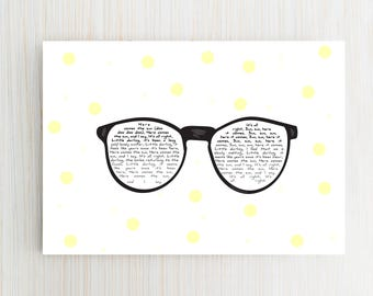 "summer glasses song card "" Here comes the sun "" the beatles -  customizable"