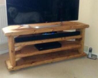 Antique Waxed TV Corner Unit / Handmade with Double Shelf