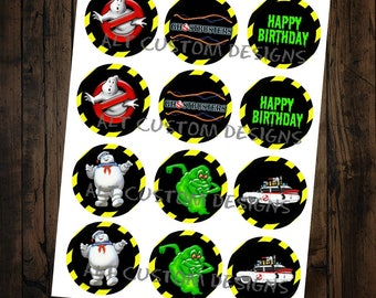Ghostbusters  Cupcake Toppers - printable - Ghostbuster Birthday Party - Ghostbuster Decorations