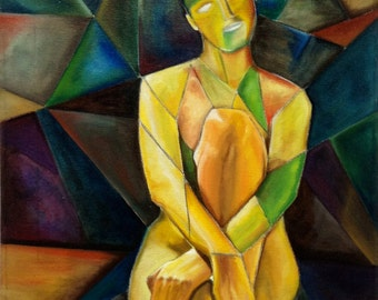 Without title, Cubism, woman, seated, resting, Act,