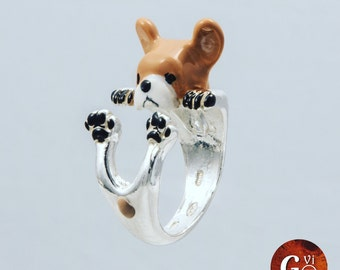 Silver ring 925 Silver ring-sculptured-dog-dog lover--dog lover-enamels-My Silver ring pet dog hug: french bull dog