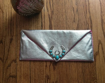 Silver Clutch Purse with Embellishment