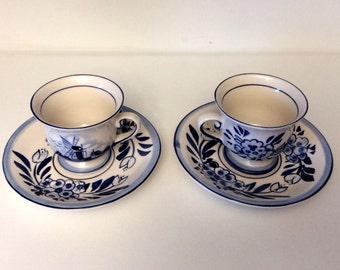 Delfts Blue Minature Tea Cups and Saucers