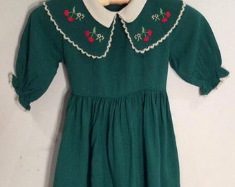 little girls vintage dress with cherries Cinderella