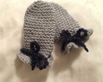 Grey Thumbless Baby Mittens