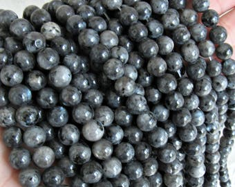 Black Moonstone 8mm, Larvikite beads, black labradorite beads, 8mm larvikite beads, gray gemstone, 8mm black labradorite, full strand