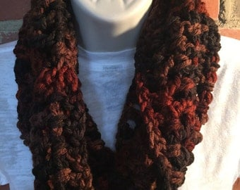 Chunky Multi Brown Cowl Neck Infinity Scarf | Multi Brown Scarf