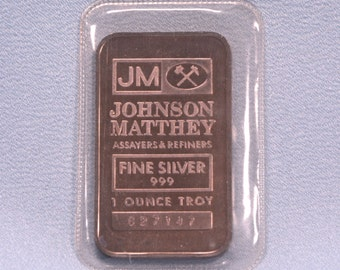 Silver Bar-Johnson Matthey assayers & refiners. 1 ounce .999 Sealed