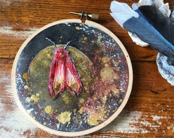 """Red and Black hand stitched 4"""" moth mixed media embroidery home decor"""