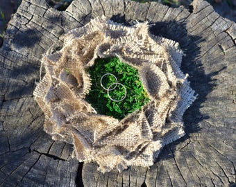 Rustic Ring Pillow, Natural Ring Bearer, Wedding Ring Holder, Ring Nest, Proposal Ring Box, Wedding Nest, Rustic Ring Bearer,Moss Ring Pilow