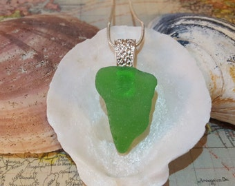 Kelly Green Maine Sea Glass Necklace