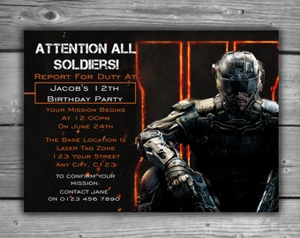 Call Of Duty Invitation - Digital File - Attention All Soldiers - COD Black Ops 3 Lazer Tag Laser Teenager Invite - Gamer Birthday - V002