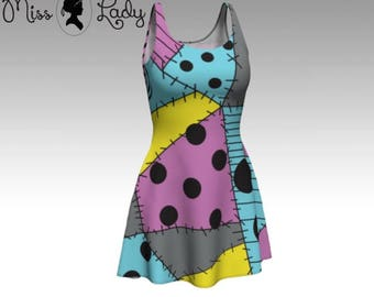 Patch Sally - Nightmare before christmas inspired Stretch tank top flare dress